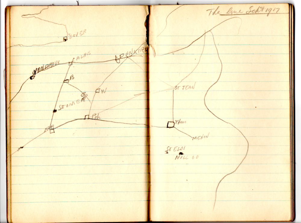 James Heartfield's grandfather's sketch of the supply lines.